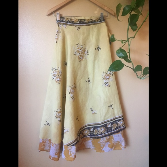 Dresses & Skirts - Yellow Reversible Indian Wrap Skirt Floral Full